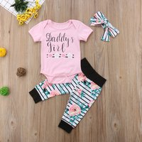 Stylish Letter Print Short-sleeve Romper, Striped Pants and Headband Set