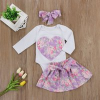 3-piece Big Heart Pattern Flower Print Bodysuit, Bow Skirt and Headband Set