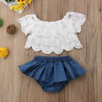 Pretty Solid Lace Top and Ruffled Bloomers Set