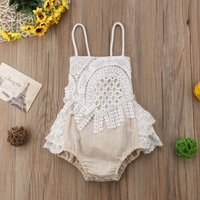 Stylish Lace Design Sleeveless Bodysuit for Baby