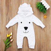 Cute Bear Design Hooded Long-sleeve Jumpsuit