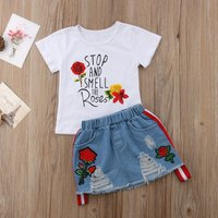 Sassy Letter Print Tee and Rose Embroidered Denim Threadbare Skirt
