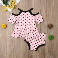 2-piece Lovely Polka Dots Cold Shoulder Ruffled Top and Briefs Set