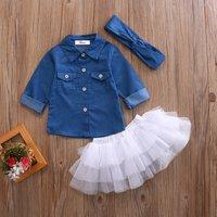 3-piece Adorable Button Pocket Decor Lapel Collar Denim Top, Tulle Skirt and Knot Headband Set