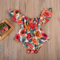 Off The Shoulder Sunflower Romper