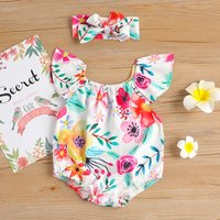 Pretty Floral Print Ruffled Bodysuit and Headband for Baby