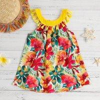 Stunning Floral Tassel Sleeveless Dress for Girls