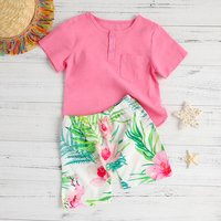 Fashionable Floral Print Tee and Shorts Set Toddler and Boy