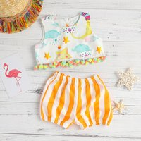 Stylish Moon stars Print Pompom Decor Top and Striped Shorts Set for Baby