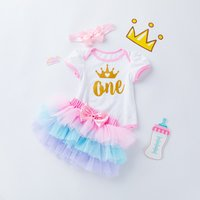 2-piece Baby Girls Crown Bodysuit Mesh Skirt Set