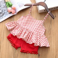Ruffle Floral Top and Pompom Shorts Set