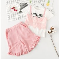Lace Trim Letter Tee and Ruffle Short Set