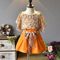 Flounce Flora Top and Belted Shorts Set