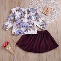 2-piece Floral Ruffled Collar Top and Suede Skirt Set