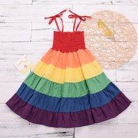 Trendy Color Blocked Stripe Pleated Bow Decor Strap Dress