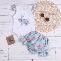 Baby Girl's Rabbit Floral Print Bodysuit and Ruffled Shorts
