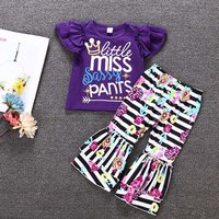 2-piece Letter Print Top and Striped Plant Allover Ruffle Pants for Baby Girls