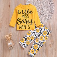 2-piece Trendy Letter Print Top and Flower Allover Pants Set