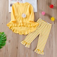 2-piece Ruffled Top and Stripe Ruffled Pants for Baby Girls and Girls