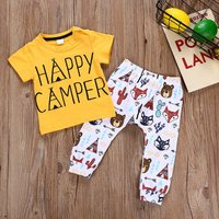 2-piece Trendy Letter Print Top and Animal Patterned Pants Set