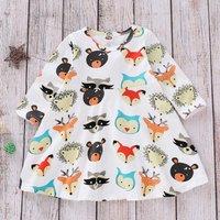 Cute Cartoon Animal Patterned Long-sleeve Dress