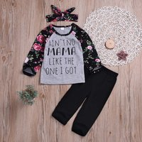 3-piece Stylish Flower and Letter Print Top, Solid Pants and Bow Headband Set