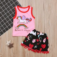 Stunning Believe in Magic Unicorn Sleeveless Vest and Shorts Set for Baby and Toddler