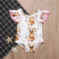 Baby's Bunny Floral Print Ruffled Sleeveless Bodysuit