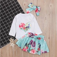 Trendy Heart Long-sleeve bodysuit, Floral Print Skirt and Headband Set for Baby