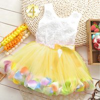 Pretty Pearl Petal Decor Bow Knot Tulle Sleeveless Dress for Baby