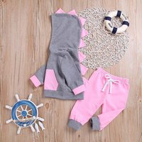 Comfy Dinosaur Design Serrate Hoodie and Pants Set for Baby Girls