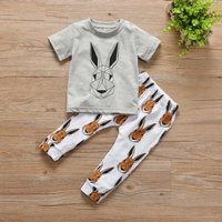 Handsome Geometric Bunny Tee and Allover Pants Set for Baby