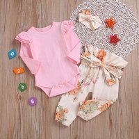 Pretty 3-piece Ruffled Long-sleeve Bodysuit Floral Pants Headband Set for Baby