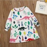 Trendy Dinosaur Floral Print Long-sleeve Dress for Girls