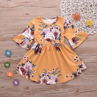 Pretty Floral Print Flare-sleeve Dress for Baby and Toddler
