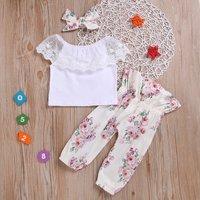 Lace Trim High-waist Floral Set