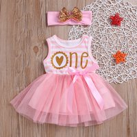 Glitter Striped Tulle Dress with Headband