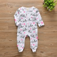 Cute Allover Stars Sister Footed Jumpsuit for Baby