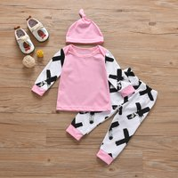 Baby Girl 3-piece Cross Print Tee, Pants and Hat