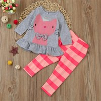 2-piece Cat Pattern Ruffle Tee and Striped Pants