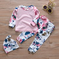 Baby Girl's Floral Allover Polka Dots Top, Pants and Hat