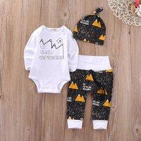 Baby Boy's Letter Pattern Bodysuit, Mountain Pattern Pants and Hat