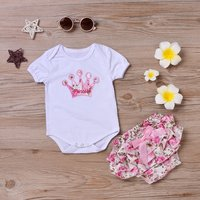 Baby Girl Crown Embroidery Bodysuit and Floral Shorts Set