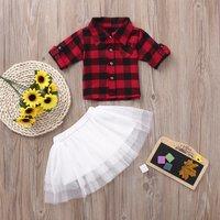 Checkered Shirt and Tutu Skirt Set