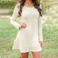 Knitted Round Neck Long-sleeve Dress