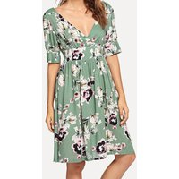 Deep V Flowers Half-sleeve Casual Dress