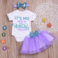 Baby Girl's Letter Pattern Bodysuit, Sequined Bowknot  Tulle Skirt and Headband