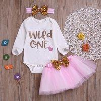 Baby Girl's Letter Bodysuit, Bow Tulle Skirt and Headband