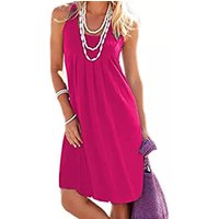 Solid Pleated Large Size Casual Dress