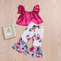 2-piece Sweet Solid Flutter-sleeve Top and Floral Allover Bellbottom Pants Set